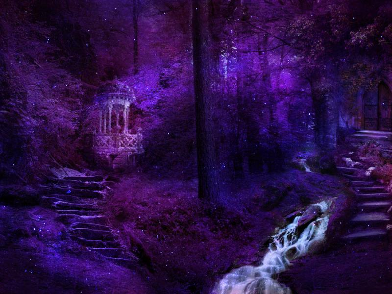 Magic Forest Purple Backgrounds For Powerpoint Templates Ppt