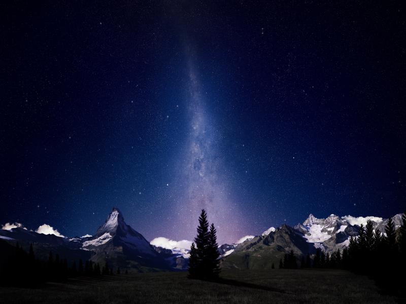Night Sky Swiss Alps Night Skys Hds Quality Backgrounds