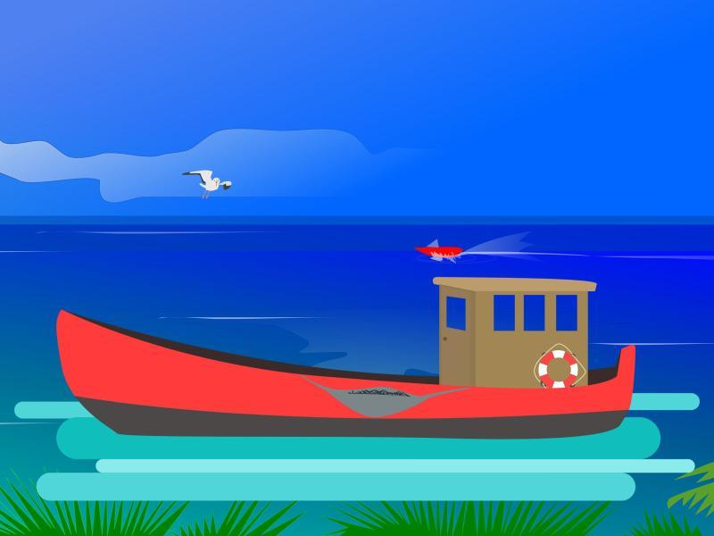 Ocean Fishing Design Backgrounds