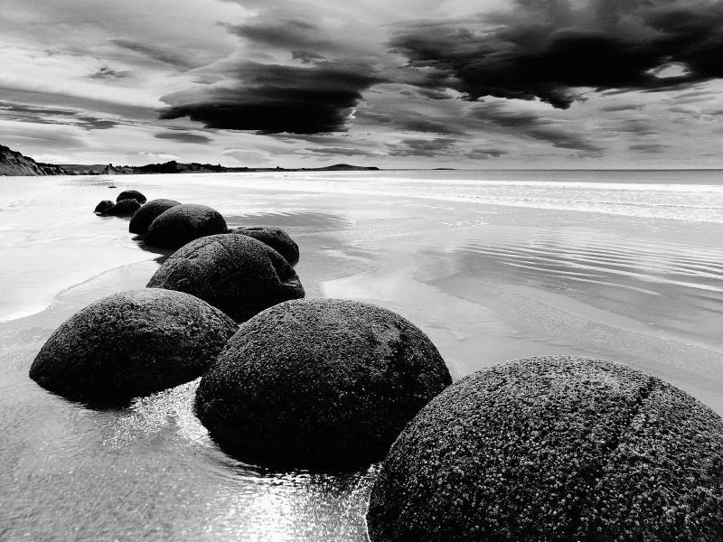 Stone sea black white landscape Backgrounds