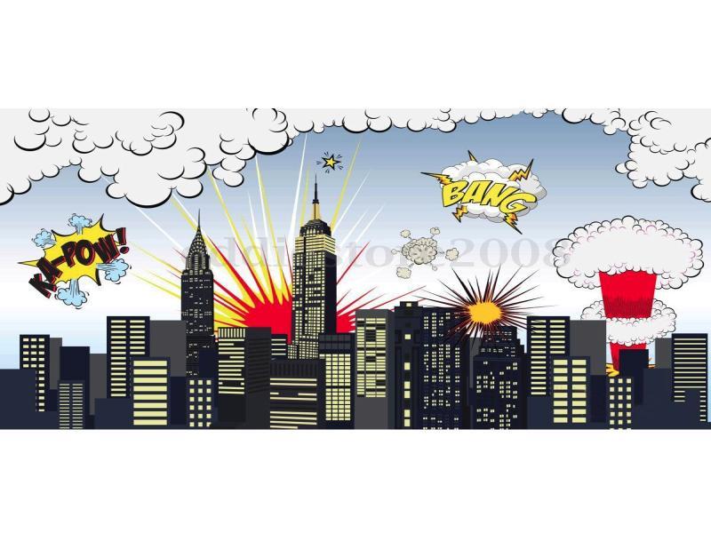 Superhero City Building Photography Studio Photo Backdrop   Graphic Backgrounds