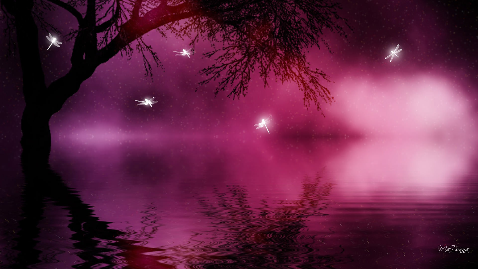 Trees and Purple Magical Backgrounds
