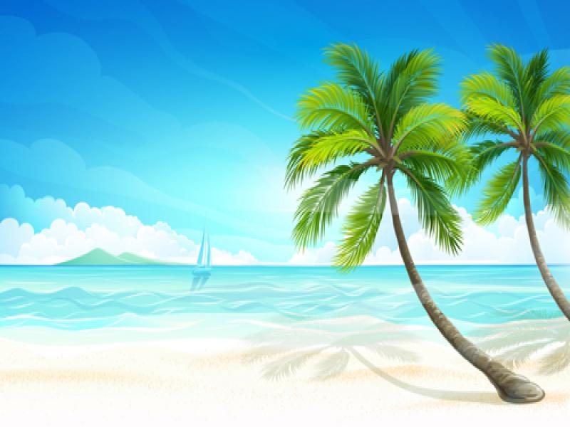 Tropical Island Beach PPT Backgrounds