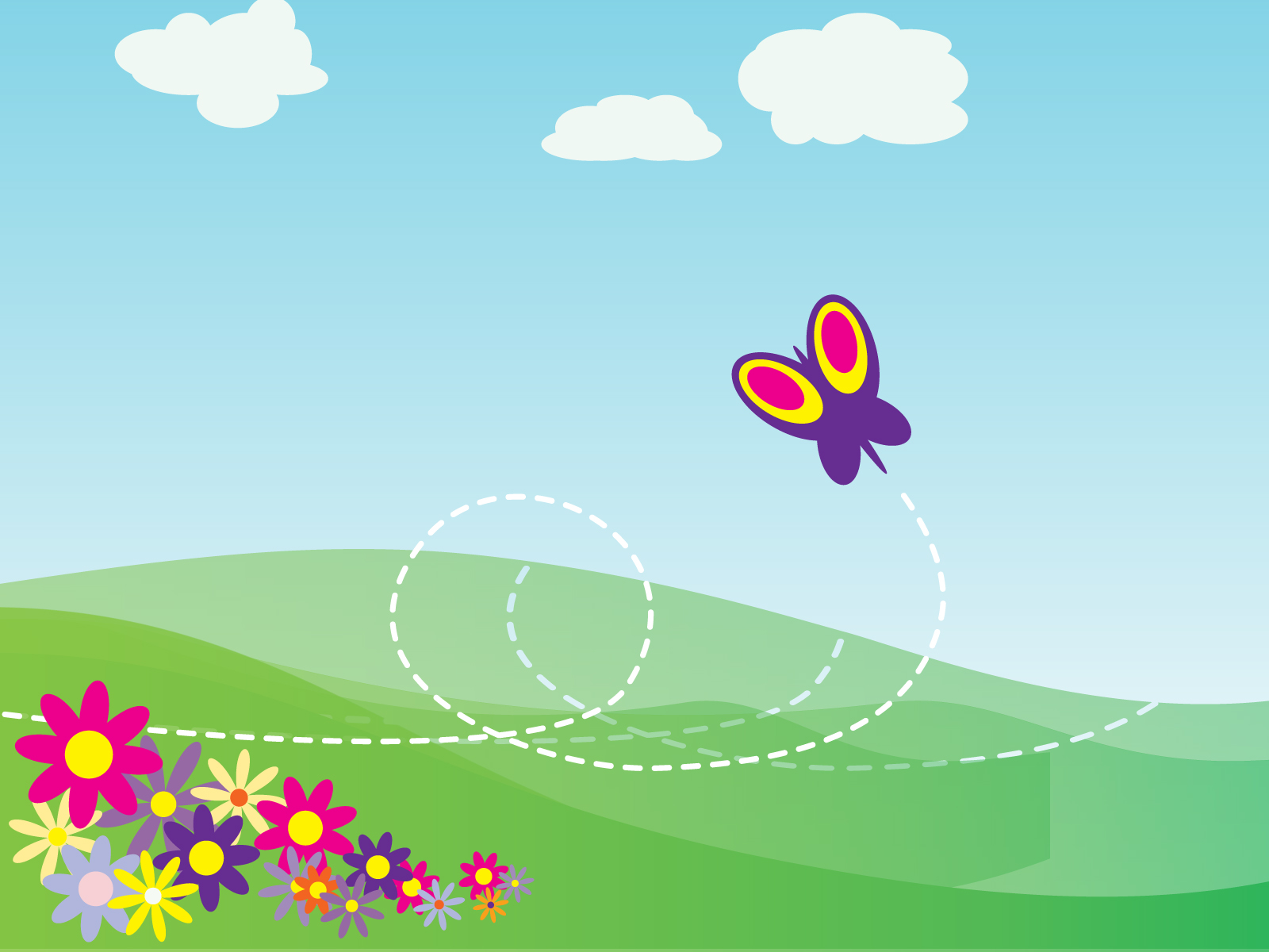Cartoon Erfly And Flowers Ppt Clipart Backgrounds For Powerpoint Templates