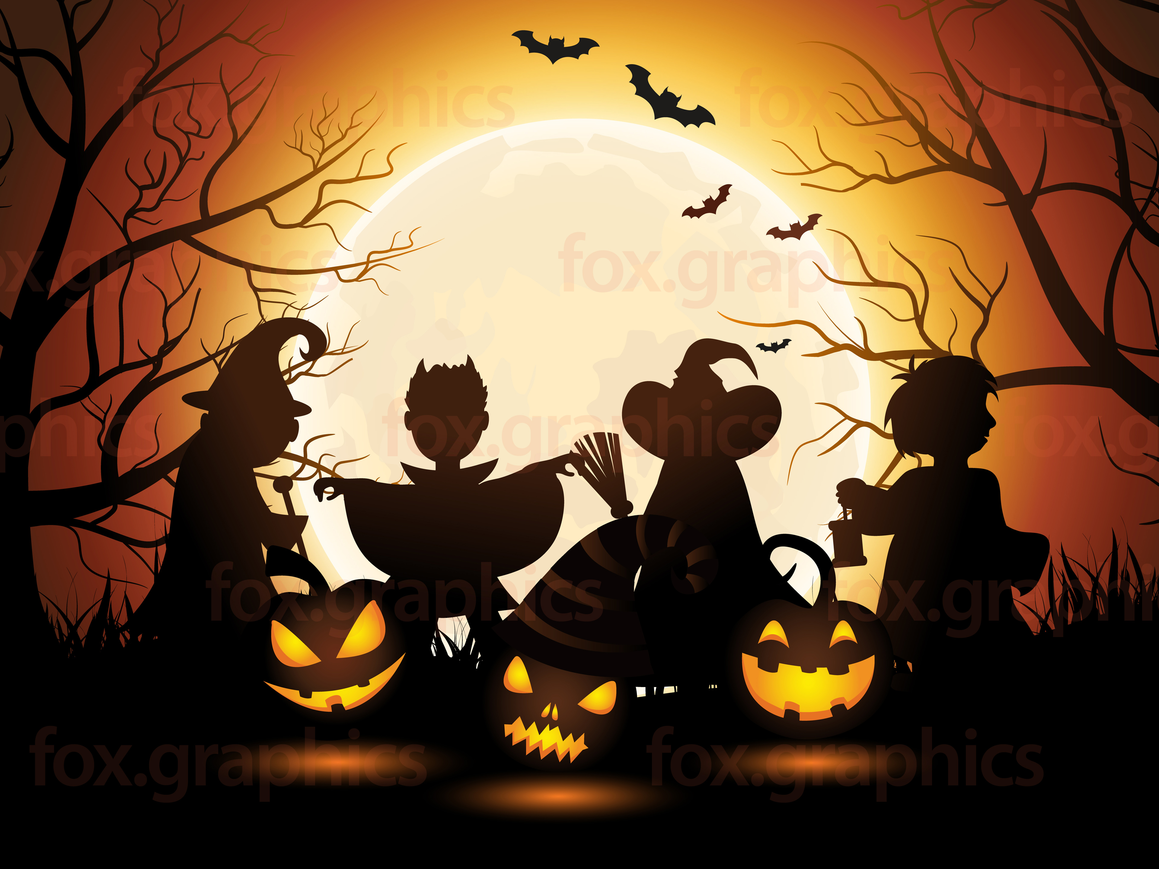Halloween Vector  Fox Graphics PPT Backgrounds